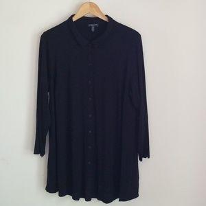 Eileen Fisher Women long black flowy button down